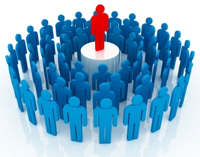 group of blue people icons around a red one standing up high showing customer centric team