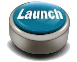 large blue launch button
