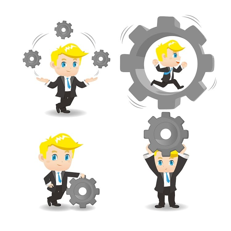 characters showing strategy implementation processes