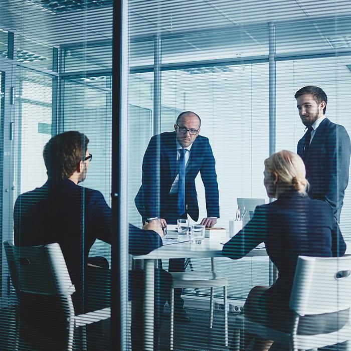 team meeting about Sales Crisis Management